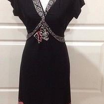 Nwot Elements Black Dress Border Print Size Medium M Cap Sleeves Photo