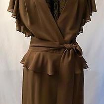 Nwot Escada Brown Peplum Dress Size Eu 42/us 10-12 Photo