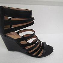 Nwot Express Black Contrast Fabric Strappy Wedge Sz 10 Photo