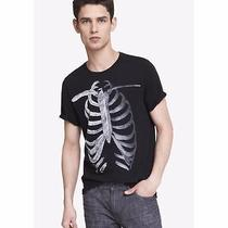 Nwot Express Black Feather Ribs Graphic Men's Tee Sz Xs- Photo