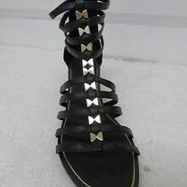 Nwot Express Black Gold Detail Low Wedge Sandal Sz 7 Photo