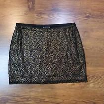 Nwot Express Black & Gold Metallic Lace Mini Skirt Sz S Photo