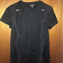 Nwot Express Black Ruffled Lace Panel Blouse Size Xs Photo