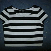 Nwot Express Black & White Cap Sleeve  Stretch Knit Top Sizes/p Photo