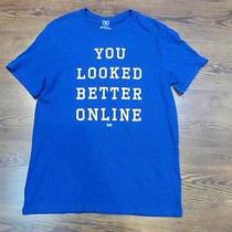 Nwot Express Blue You Looked Better Online Graphic Men's Tee Sz M- Photo
