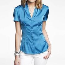 Nwot Express Bluebird Plated Satin Woman's Shirt Sz Xs Photo