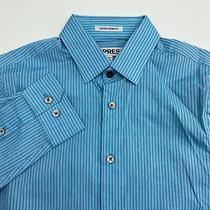 Nwot Express Button Up Dress Shirt Men's 13-13.5 Long Sleeve Blue Striped Casual Photo