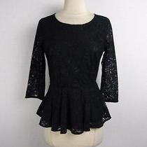 -Nwot Express Civies Civilian Clothing Black Lace Zip Back Peplum Sz S- Photo