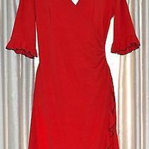 Nwot Express Designer Cherry Red Ruffled Sleeve Fashion Dress Size 9 10 Photo