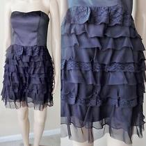 Nwot Express Elegant Faux Silk (Double Weave) & Lace/chiffon Black Dress 8 Photo