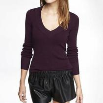 -Nwot Express Fitted v-Neck Pullover Sweater Sz M- Photo