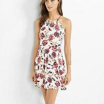 (Nwot Express Floral Cut-Out Neck Fit and Flare Dress Sz 6) Photo