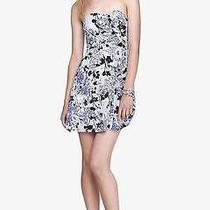 (Nwot Express Floral Strapless Surplice Fit and Flare Dress Sz 8) Photo