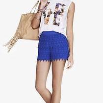 Nwot Express High Rise Cobalt Blue Crochet Shorts Sz M Photo