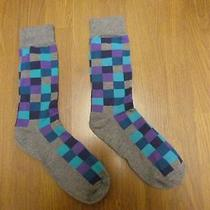 Nwot Express Men's Gray Checked Dress Socks Sz 8-12- Photo