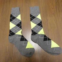 Nwot Express Men's Neon/black Argyle Dress Socks Sz 8-12- Photo