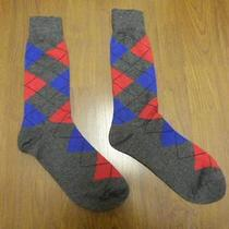 Nwot Express Men's Red/blue Marled Argyle Dress Socks Sz 8-12- Photo