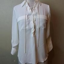-Nwot Express Off White Chest Tie Convertible Sleeve Shirt Sz L- Photo