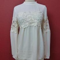-Nwot Express Off White High Neck Crochet Sleeve Top Sz Xs- Photo