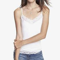-Nwot Express Off-White Lace Trim Cami Sz M- Photo
