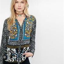 (Nwot Express Original Fit Block Floral Portofino Shirt Sz l) Photo