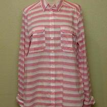 -Nwot Express Pink Striped Original Convertible Sleeve Shirt Sz L- Photo