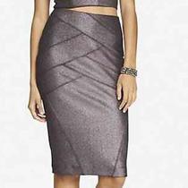Nwot Express Purple Metallic High Waist Bandage Skirt Sz 4 Photo