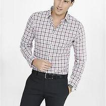 Nwot Express Red Fitted Small Plaid Men's Dress Shirt Sz Xs- Photo
