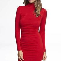 (Nwot Express Red Mock Neck Ruched Sweater Dress Sz s) Photo