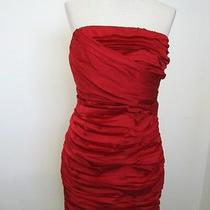 -Nwot Express Red Rouched Strapless Dress Sz 4 Photo