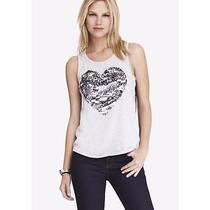 (Nwot Express Sequin Heart Lace Back Muscle Tank Sz Xs) Photo