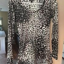 Nwot Express Sheer Leopard Print Top Black Off White Cami Shirt Petite Small Photo