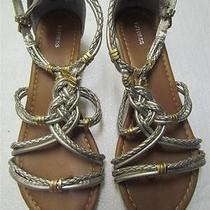 Nwot Express Silver/gold Braided Low Wedge Back Zip Sandal Sz 8 Photo