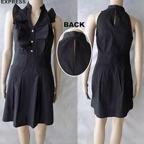 Nwot Express Stretch Shirt Dress W/gold Buttons & Keyhole Black Sz 4 Photo