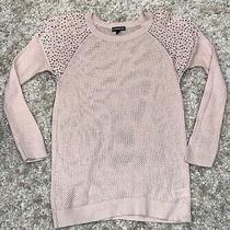 Nwot Express Studded Metallic Mesh Blush Pink Sweater S Photo
