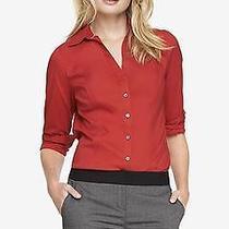 -Nwot Express the Original Long Sleeve Essential Red Shirt Sz S- Photo