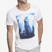 Nwot Express White Crew Neck Reach Out Graphic Men's Tee Sz L- Photo