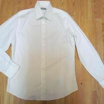 Nwot Express White Pinstriped Fitted Men's Dress Shirt Sz L- Photo