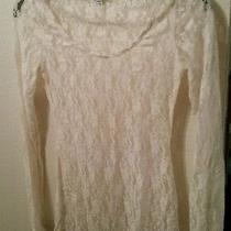 Nwot Express Xs Lace See Through Long Sleeve Top Blouse 0 2 Cream White Small Photo