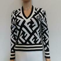 Nwot Fendi Black/white Zucca Print Wool Blend Sweater Size 38/us 2 Photo