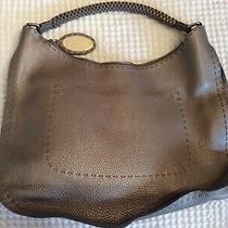 Nwot Fendi Metallic Pewter Pebbled Leather Hobo Shoulder Bag  Photo