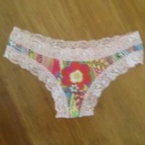 Nwot Fleur't Womens Floral Print With Lace Trim Panty Sz S/m Photo