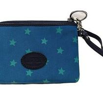Nwot Fossil Blue Teal Stars Canvas Wrislet Women's Wallet Leather Small Photo
