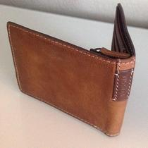 Nwot Fossil Brown Leather L-Zip Bifold Wallet 8 Card Slots Msrp 55.00 Photo