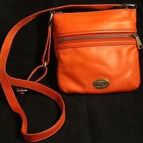 Nwot Fossil Explorer Bright Orange Small Purse Leather Mini Crossbody Bag  Photo