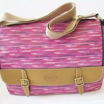 Nwot Fossil Keyper Messenger Hot Pink Laptop Diaper Crossbody Bag Photo
