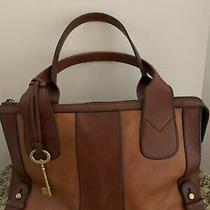 Nwot Fossil Leather Two-Tone Brown Tote Crossbody Handbag Purse New Photo