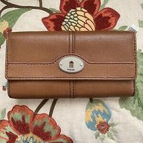 Nwot Fossil Maddox Flap Clutch Wallet Chestnut Leather Photo
