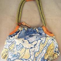 Nwot Fossil Shoulder Bag Purse Wood Keyzb3985map Print Fabricrope Handles Photo