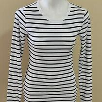 Nwot Gap Blue White Striped Crew Neck Long Sleeve Stretchy Tee Top Size M Photo